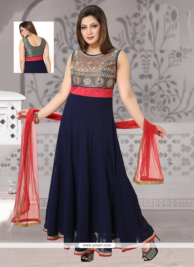 Captivating Navy Blue Embroidered Work Readymade Suit