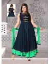Incredible Blue Lace Work Georgette Readymade Suit