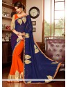 Blue And Orange Georgette Designer Saree