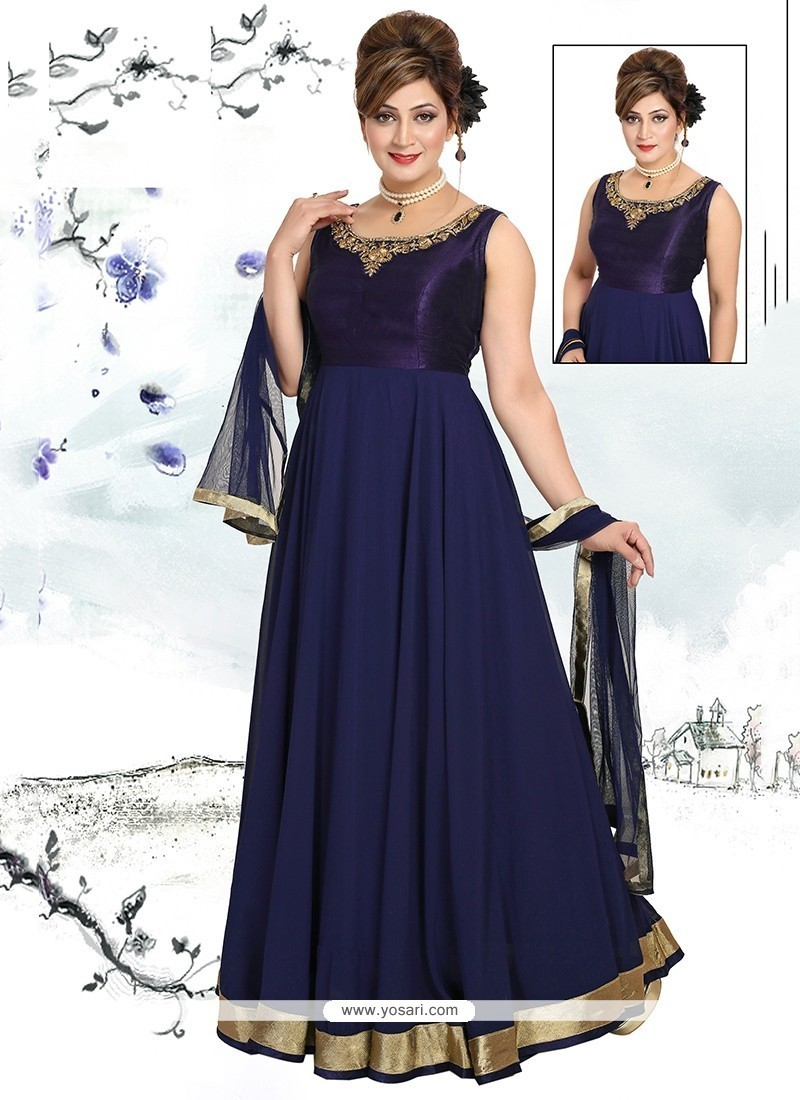 Latest Navy Blue Georgette Readymade Suit