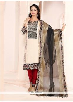 Renowned Embroidered Work Chanderi Cream Churidar Designer Suit