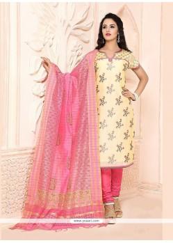 Miraculous Chanderi Lace Work Churidar Designer Suit