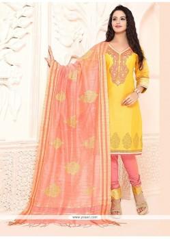 Flattering Embroidered Work Yellow Chanderi Churidar Designer Suit