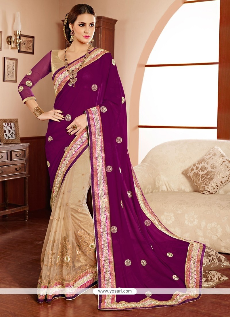 Purple And Cream Net And Georgette Saree