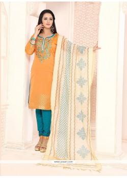 Trendy Orange Churidar Designer Suit