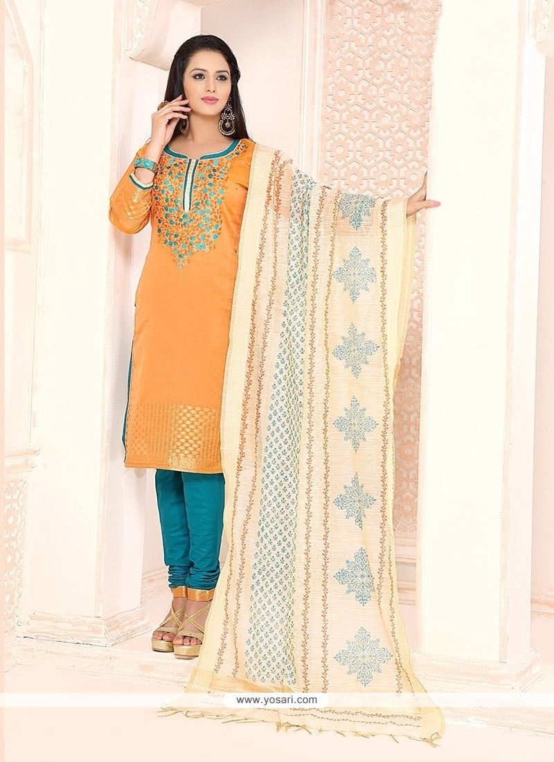 Trendy Orange Churidar Designer Suit