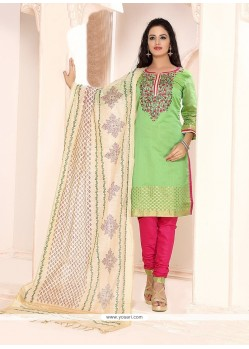 Blissful Chanderi Embroidered Work Churidar Designer Suit