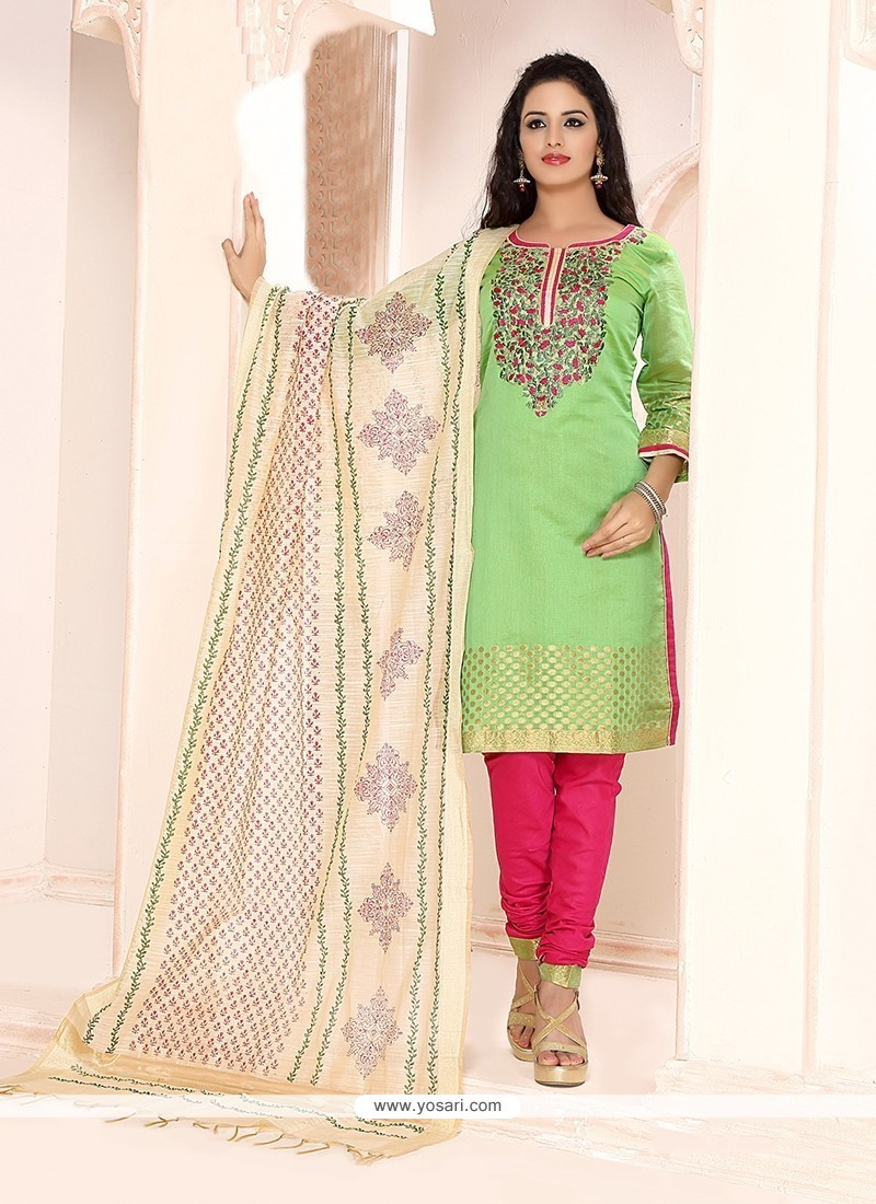 Blissful Chanderi Embroidered Work Churidar Designer Suit