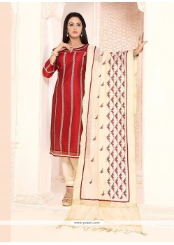 Surpassing Chanderi Maroon Lace Work Churidar Designer Suit