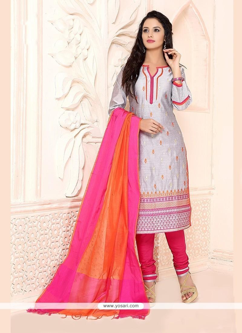 Breathtaking Lace Work Chanderi Grey Churidar Designer Suit