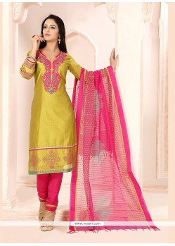 Imperial Green Lace Work Chanderi Churidar Designer Suit