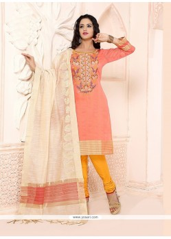 Royal Embroidered Work Peach Chanderi Churidar Designer Suit