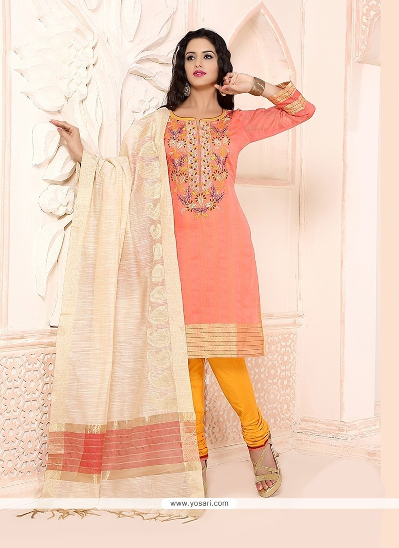 Royal Embroidered Work Peach Chanderi Churidar Designer Suit