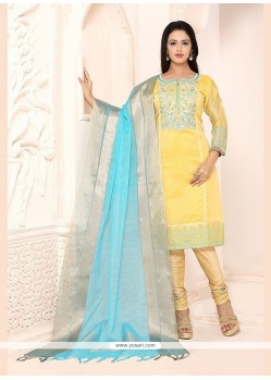 Glorious Chanderi Yellow Lace Work Churidar Designer Suit