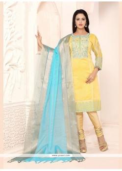 Glorious Chanderi Yellow Lace Work Churidar Designer Suit