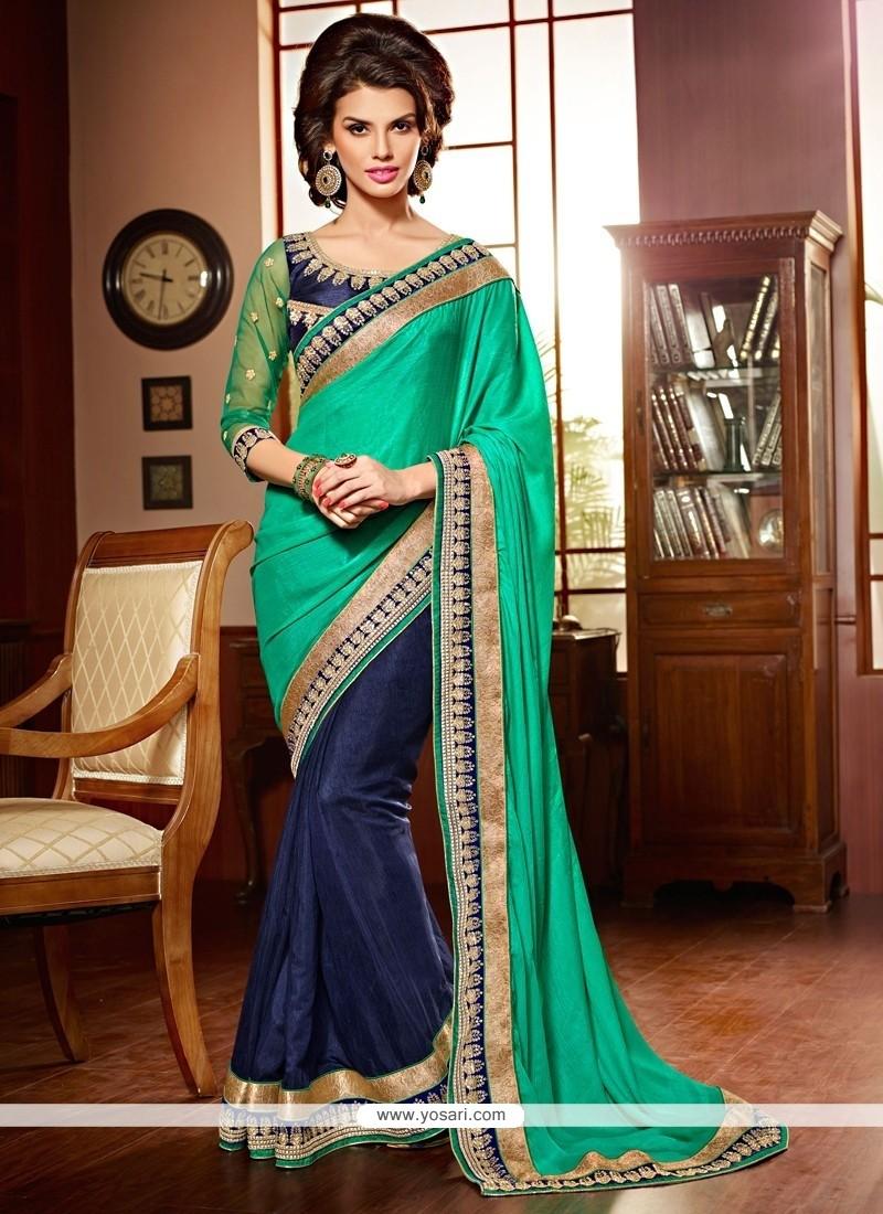 Blue And Green Art Silk Designer Saree