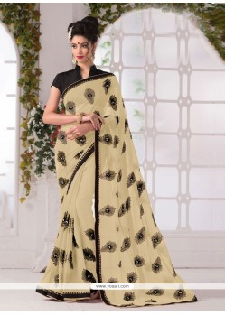 Pleasing Georgette Cream Print Work Printed Saree