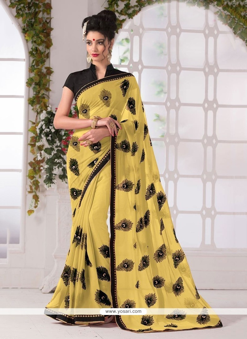 Exceeding Georgette Yellow Printed Saree