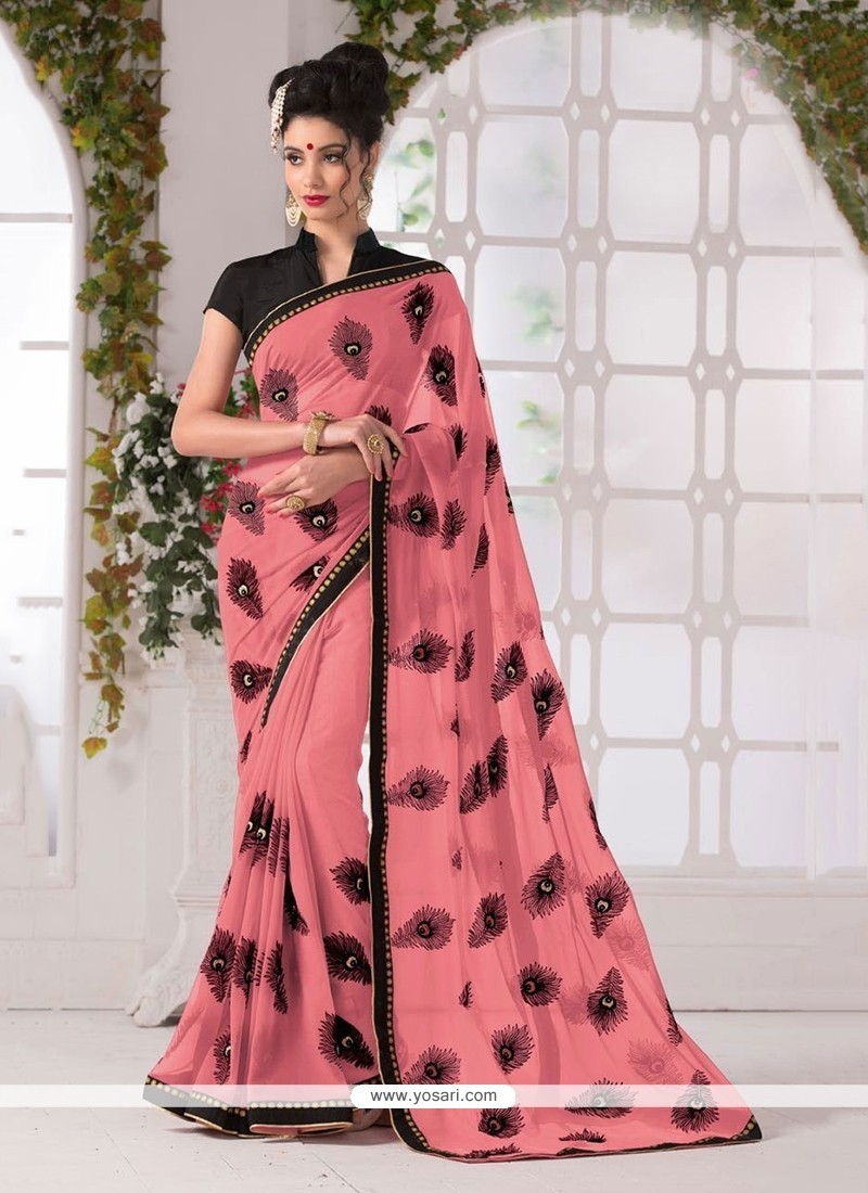 Prepossessing Rose Pink Print Work Georgette Printed Saree