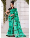 Sterling Georgette Sea Green Print Work Printed Saree