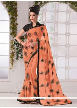 Peach Print Work Georgette Printed Saree