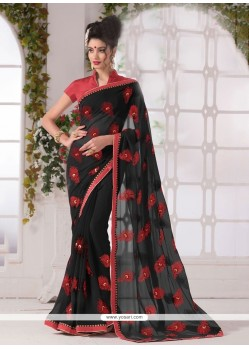 Arresting Georgette Print Work Printed Saree