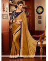 Charming Cream Faux Chiffon Party Wear Saree
