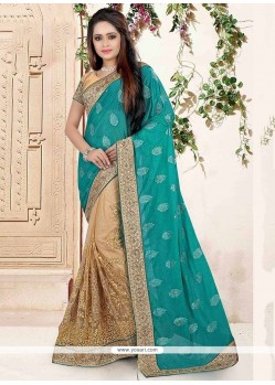 Demure Patch Border Work Beige Classic Saree