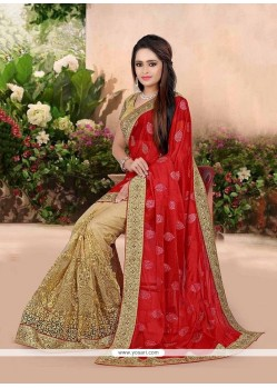 Gratifying Net Beige Patch Border Work Traditional Designer Sarees