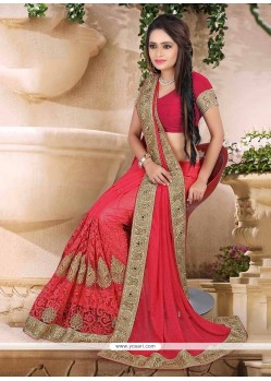 Hot Pink Patch Border Work Net Classic Designer Saree