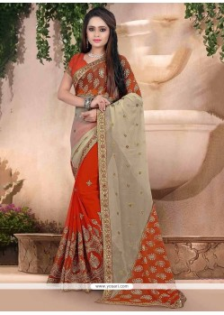 Beautiful Georgette Orange Embroidered Work Traditional Saree
