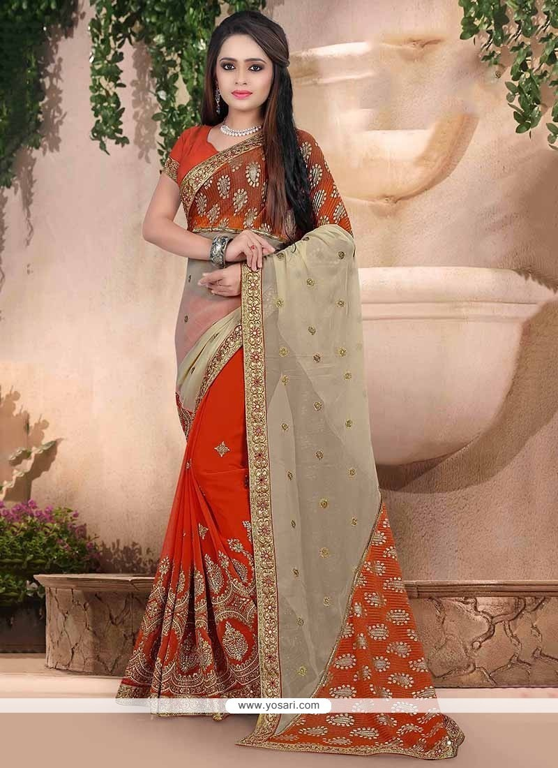 Beautiful Georgette Orange Embroidered Work Traditional Saree