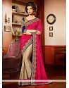 Jaaz Pink And Cream Georgette Designer Saree