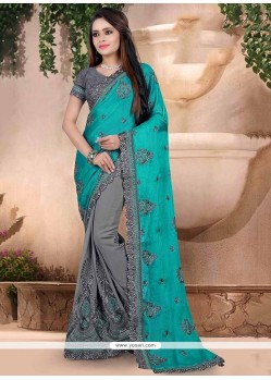 Grey Embroidered Work Georgette Classic Designer Saree