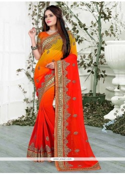 Exuberant Orange Patch Border Work Classic Saree