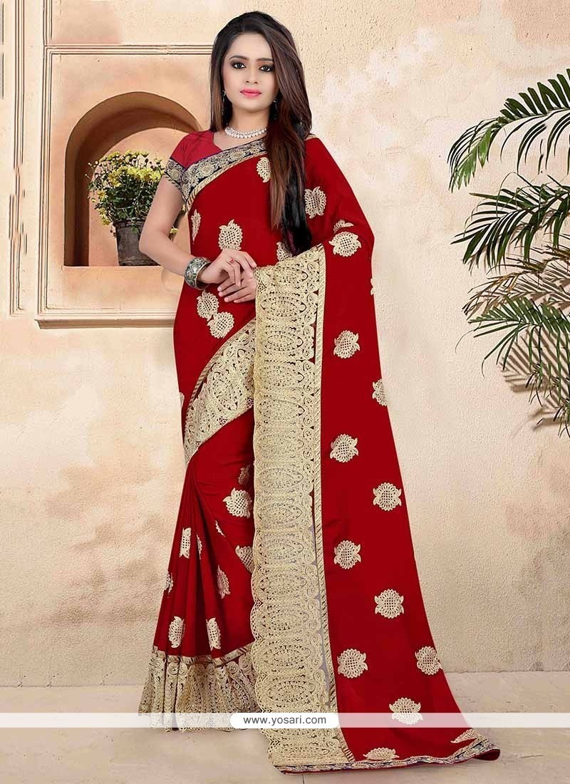 Glamorous Patch Border Work Red Designer Traditional Sarees