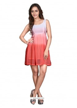 Lovable Off White And Peach Plain Work Georgette Casual Kurti
