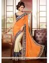 Off White And Orange Silk Half And Half Saree