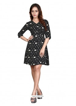 Pleasing Print Work Rayon Black Casual Kurti