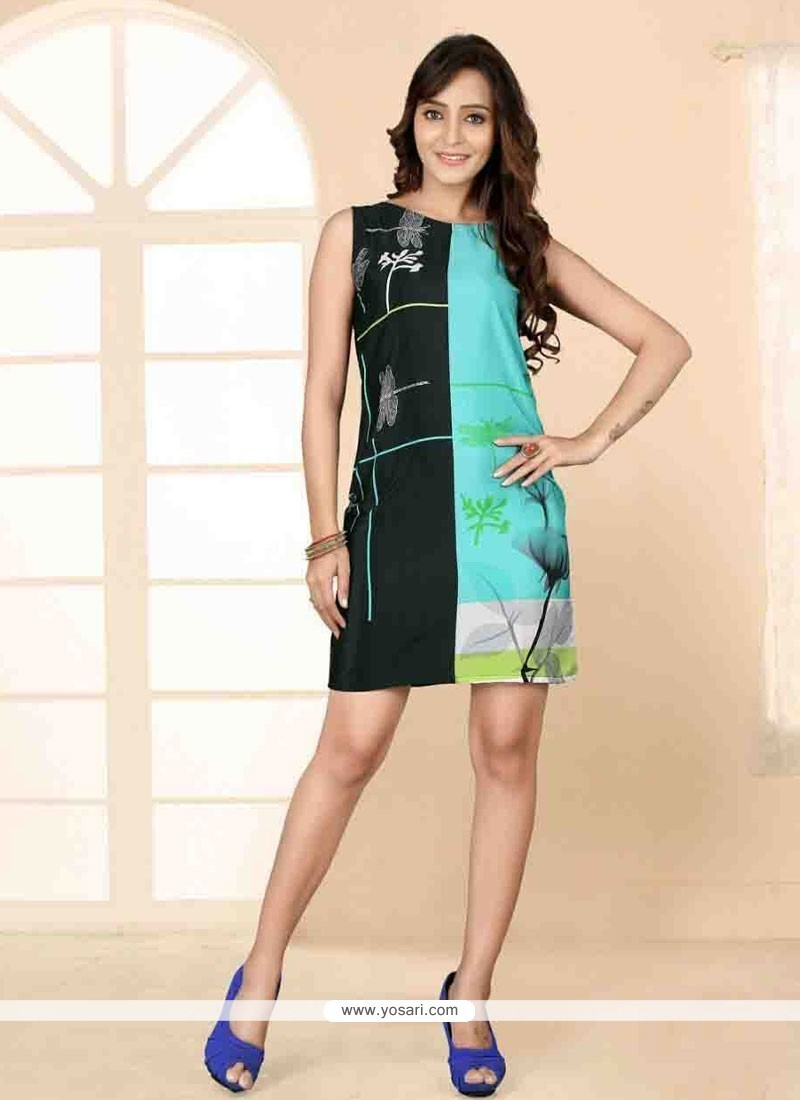 Elegant Faux Crepe Print Work Party Wear Kurti