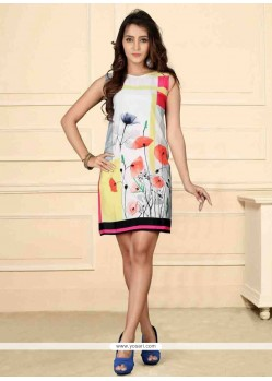 Pleasing Multi Colour Print Work Party Wear Kurti