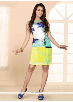 Genius Faux Crepe Multi Colour Print Work Party Wear Kurti