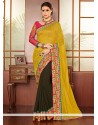 Yellow And Green Georgette Half And Half Saree