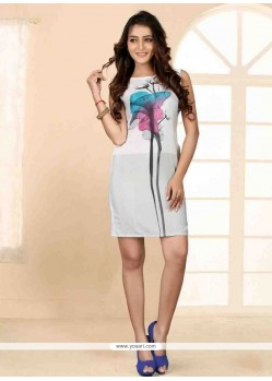 Tiptop Faux Crepe Off White Print Work Party Wear Kurti