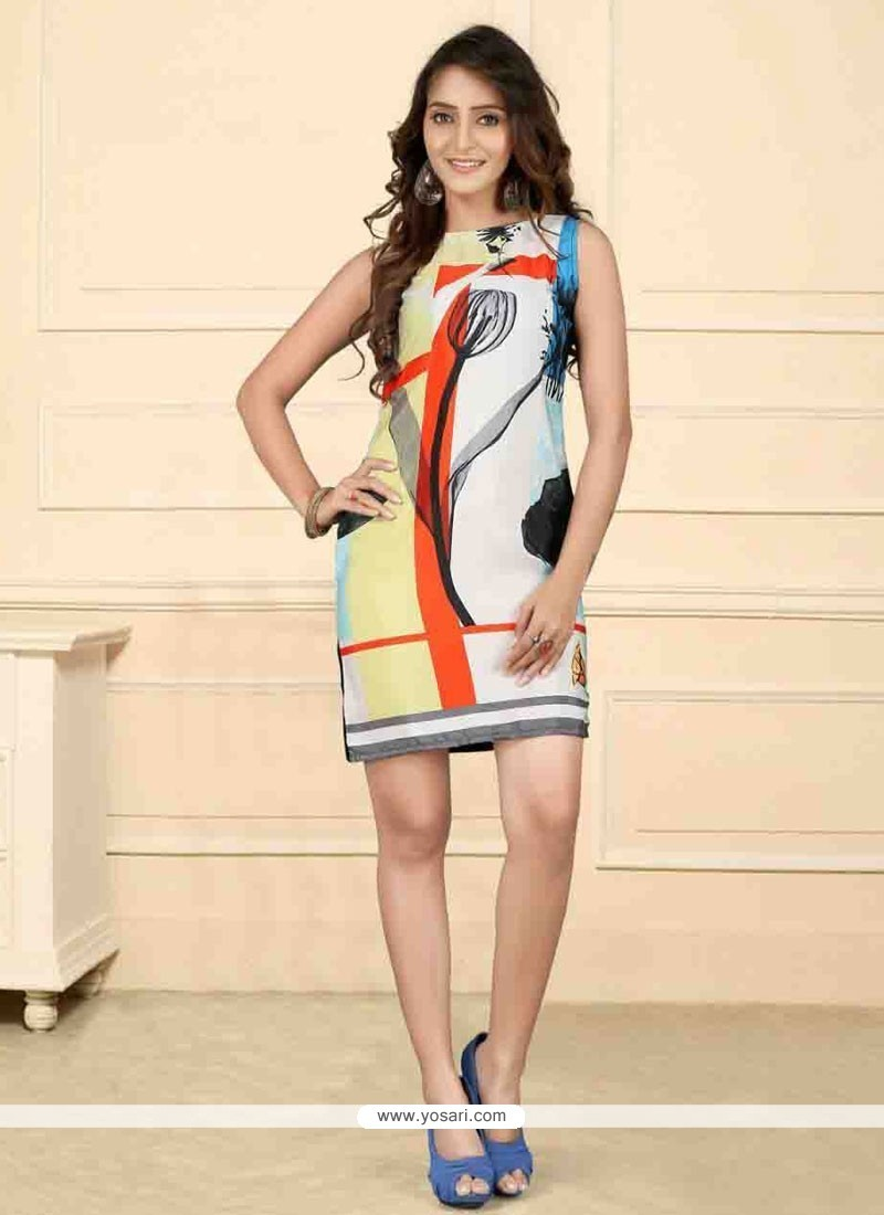 Beautiful Multi Colour Print Work Faux Crepe Party Wear Kurti