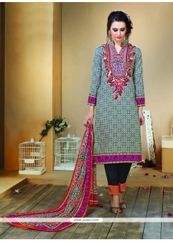 Dashing Print Work Designer Straight Salwar Kameez