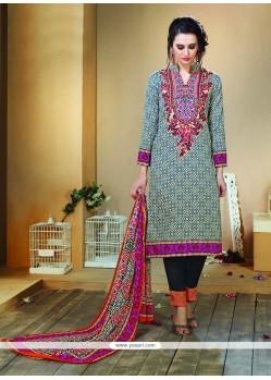 Dashing Print Work Designer Straight Salwar Kameez