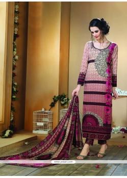 Flawless Fancy Fabric Multi Colour Print Work Designer Straight Salwar Kameez