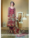 Exceeding Multi Colour Print Work Fancy Fabric Designer Straight Salwar Kameez