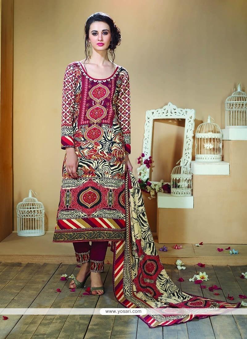 0d6be74b31 Exceeding Multi Colour Print Work Fancy Fabric Designer Straight Salwar  Kameez